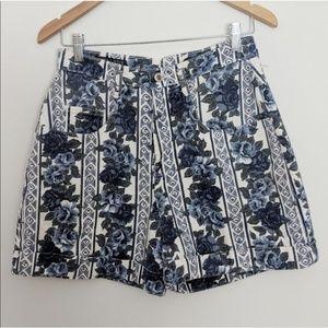 Vintage 80s 90s High-Rise Retro Floral Shorts